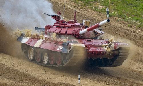 Xe tăng T-72B3 của đội tuyển Nga thi đấu hôm 5/8. Ảnh: Bộ Quốc phòng Nga.