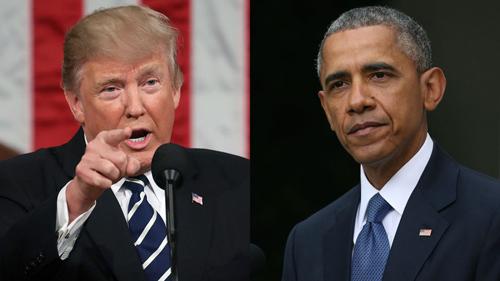 Tổng thống Mỹ Donald Trump (trái) và cựu tổng thống Barack Obama. Ảnh: AFP.