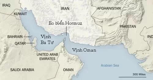 Vị trí của eo biển Hormuz vàvịnh Ba Tư. Đồ họa: NYTimes.