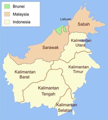 Đảo Borneo thuộc sở hữu của  Brunei, Malaysia và Indonesia. Ảnh: Wiki.