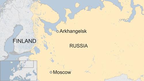 Vị trí vùng Arkhangelsk của Nga. Đồ họa: RT.
