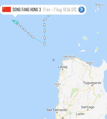 Lộ trình của tàu khảo sát Dong Fang Hong 3 ở phía bắc đảo Luzon, Philippines. Ảnh: Twitter.