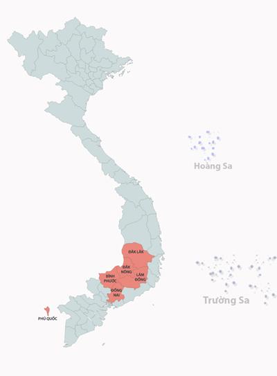 Các tỉnh đang bị ảnh hưởng của mưa lũ. Ảnh: Thanh Huyền.
