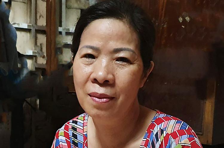 Bà Quy tại nhà riêng trong sáng 10/8. Ảnh: Văn Hoà.