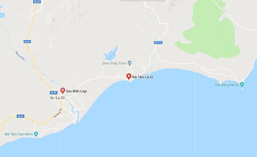 Các du khách bị nạn ở bãi biển La Gi.