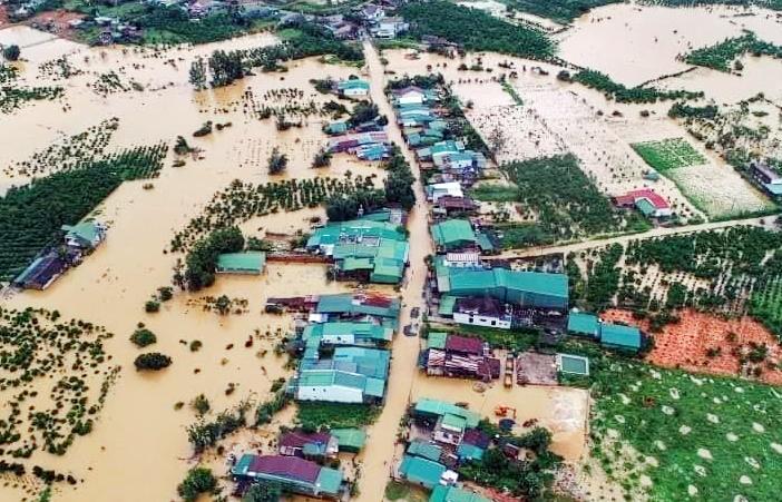 TP Bảo Lộc ngập nặng hôm 8/8. Ảnh: Hoài Thanh.