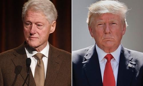 Tổng thống Mỹ Donald Trump (phải) và cựu tổng thống Bill Clinton. Ảnh: Peolpe.