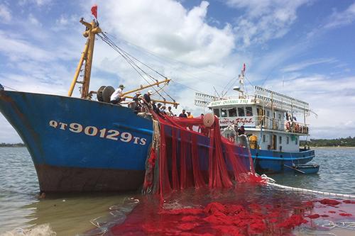 Tàu 67 của ngư dân Hồ Văn Hoàn vừa trở về từ vùng biển bắc Hoàng Sa. Ảnh: Hoàng Táo