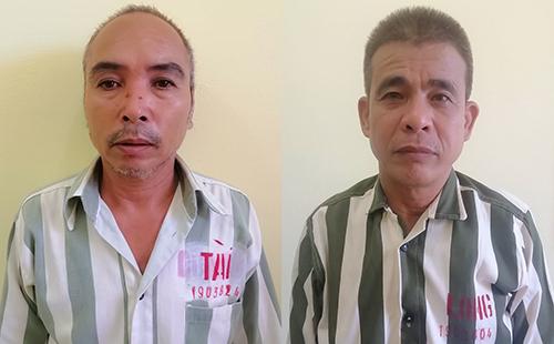 Nghi can Tài (trái) và Long tại cơ quan điều tra. Ảnh: Đức Hùng