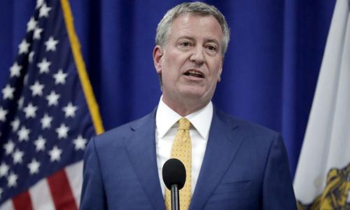 Thị trưởng New York Bill de Blasio. Ảnh: AP.