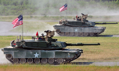 Xe tăng Mỹ cơ động vào tuyến bắn tại SETC 2018. Ảnh: US Army.