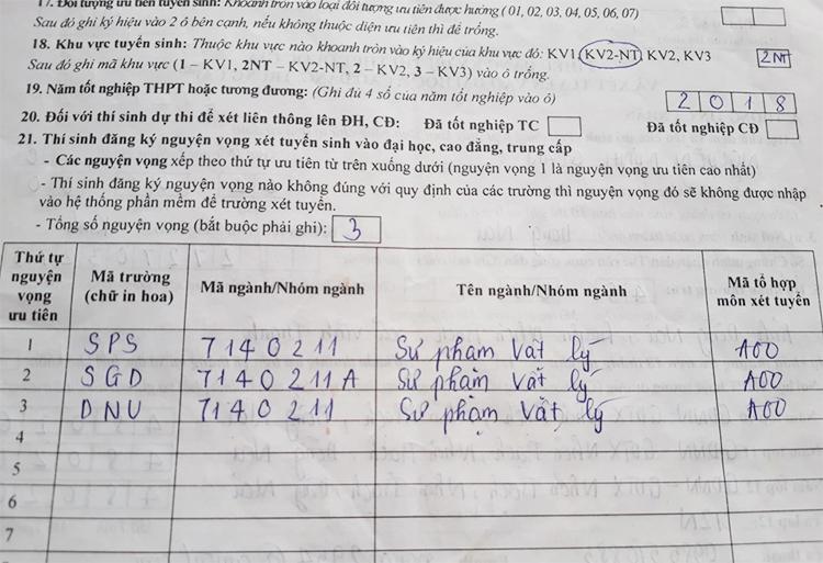 Đơn đăng ký nguyện vọng của thí sinh Nguyễn Minh Quân ở Đồng Nai. Ảnh: Nhân vật cung cấp