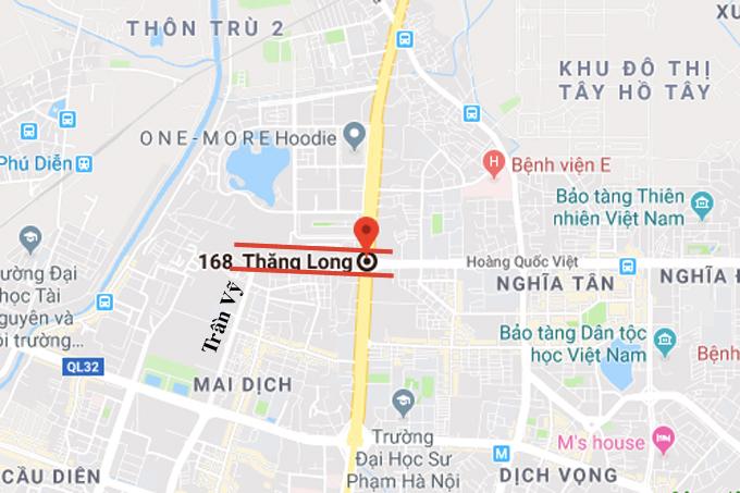 Bản đồ vị trí hầm chui dự kiến qua nút giao Hoàng Quốc Việt- Tây Thăng Long.