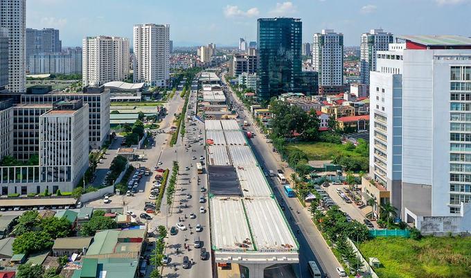 Công trường đường trên cao hơn 5.000 tỷ đồng ở Hà Nội