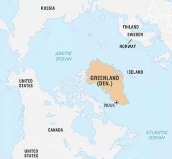 Greenland nằm giữa Bắc Băng Dương và Đại Tây Dương, xung quanh là Mỹ, Canada, Nga, Phần Lan, Na Uy, Iceland, Thụy Điển. Ảnh: Britannica.