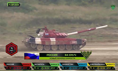 Đội tuyển Nga lập kỷ lục tốc độ mới 84 km/h trên xe tăng T-72B3. Ảnh chụp màn hình.