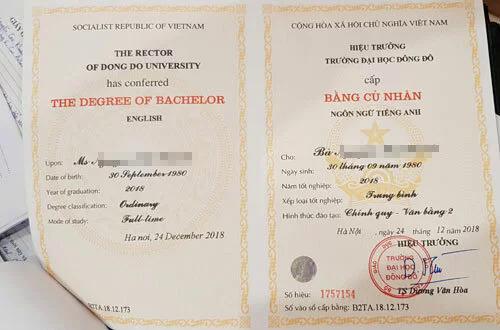 Một tấm văn bằng 2 do Đại học Đông Đô cấp bị cơ quan công an thu giữ. Ảnh: Công an cung cấp