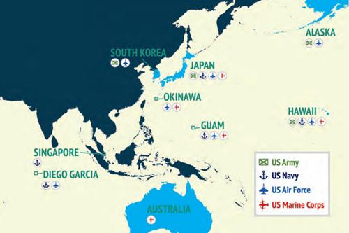 Một số căn cứ của Mỹ ở Ấn Độ Dương - Thái Bình Dương. Đồ họa: Texpertis.