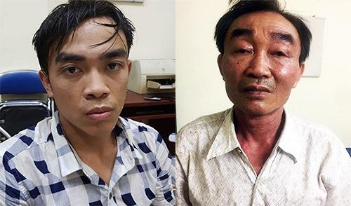 Thành (trái) và Khanh tại cơ quan điều tra. Ảnh: Sơn Hoà.