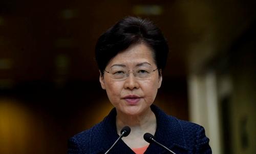 Trưởng đặc khu Carrie Lam phát biểu trong họp báo sáng nay ở Hong Kong. Ảnh: AFP.