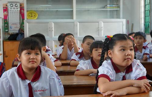 Học sinh lớp một tại TP HCM trong ngày tựu trường năm học 2019-2020. Ảnh: Mạnh Tùng.