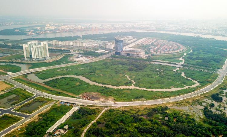 Khu đô thị mới Thủ Thiêm sau hơn 20 năm xây dựng. Ảnh: Hữu Khoa.