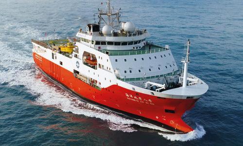 Tàu khảo sát Hải Dương 8 của Trung Quốc trong hoạt động năm 2018. Ảnh: Schottel.