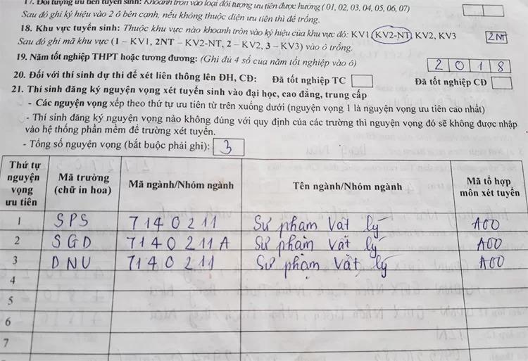 Đơn đăng ký nguyện vọng của Nguyễn Minh Quân. Ảnh: Nhân vật cung cấp