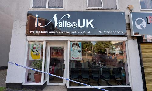 Tiệm nail ở thị trấn Cannock, hạt Staffordshire, nơi cảnh sát bắt giữ một nghi phạm liên quan đến vụ mất tích của Lê Thị Diệu Linh tuần trước. Ảnh: