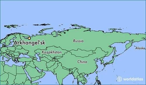 Vị trí thành phố Arkhangelsk, nơi xảy ra vụ nổ tại căn cứ quân sự Nga ngày 8/8. Đồ họa: Worldatlas.