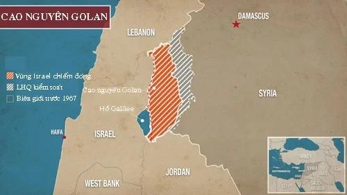 Vị trí cao nguyên Golan. Đồ họa: Alaraby