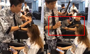 Thợ cắt tóc ngơ ngác khi tạo mẫu tóc cho người đẹp