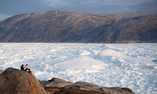 A view overlooking the Helheim Glacier in Greenland. (Felipe Dana/AP)