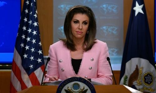 Người phát ngôn Bộ Ngoại giao Mỹ Morgan Ortagus. Ảnh: AFP.
