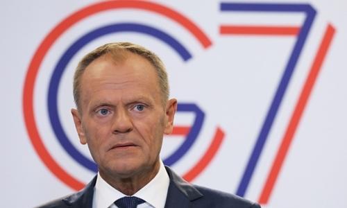 Chủ tịch Hội đồng EU Donald Tusk tại buổi họp báo trong khuôn khổ hội nghị G7 ởBiarritz, Pháp ngày 24/8. Ảnh: AFP.