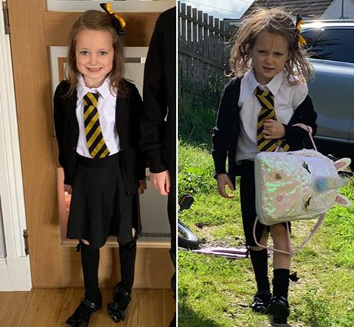 Hình ảnh khác biệt của Lucie trước và sau ngày đầu tiên đi học hôm 19/8. Ảnh: BBC