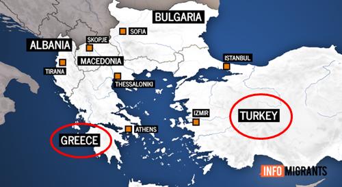 Vị trí của Hy Lạp và Thổ Nhĩ Kỳ. Đồ họa: Info Migrants.