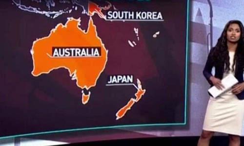 Kênh truyền hình Nga nhầm Nhật Bản với New Zealand trên bản đồ