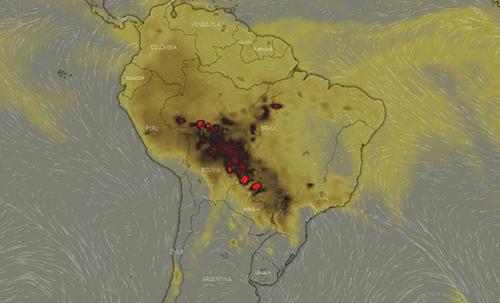 Ảnh vệ tinh các khu vực Nam Mỹ bị ảnh hưởng bởi cháy rừng Amazon. Ảnh: Geospatialworld.