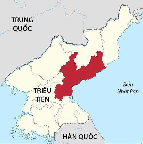 Vị trí tỉnh Nam Hamgyong (màu đỏ) của Triều Tiên. Đồ họa: Wikipedia.