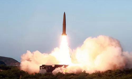 Tên lửa đạn đạo Triều Tiên phóng thử hôm 25/7. Ảnh: KCNA.