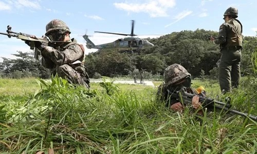 Các binh sĩ Hàn Quốc tham gia cuộc tập trận chung Người bảo vệ Tự do Ulchi hồi năm 2017. Ảnh: Yonhap.