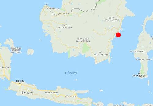 Vị trí đặt thủ đô mới của Indonesia trên đảo Boneo (chấm đỏ). Đồ họa: Google Map.