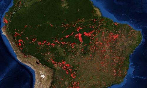 Ảnh chụp từ vệ tinh cho thấy quy mô các vụ cháy rừng Amazon. Ảnh: NASA.