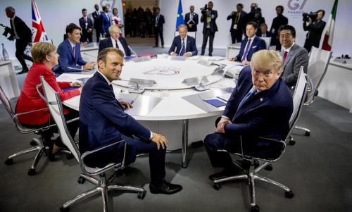 Cuộc họp của lãnh đạo các nước G7 và EU hôm 25/8. Ảnh: AFP.