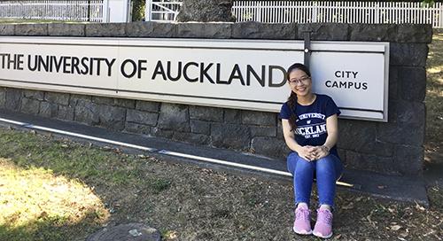 Phương Nghi trong chuyến thực tập khoa học tại Đại học Auckland (New Zealand). Ảnh: Nhân vật cung cấp