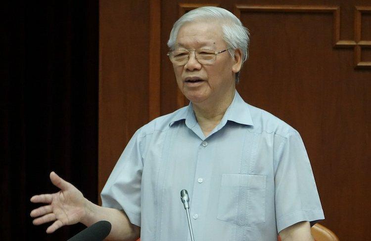 Tổng bí thư, Chủ tịch nước Nguyễn Phú Trọng phát biểu tại cuộc gặp mặt đảng viên trẻ tiêu biểusáng 27/8. Ảnh: Như Ý