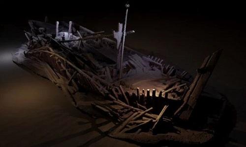 Xác tàu buôn thời đế chế Otto dưới đáy Biển Chết. Ảnh: Sun.