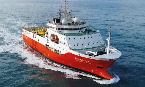 Tàu Địa chất Hải dương 8 hoạt động gần bờ biển Trung Quốc năm 2018. Ảnh: Schottel.