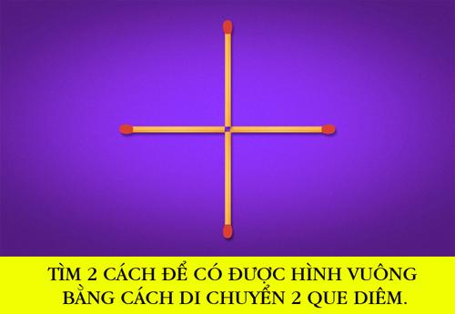 Di chuyển 3 que diêm nào để được 4 hình tam giác bằng nhau? - 1